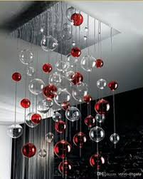 Glass Balls Chandelier Discount Red U0026 Clear Glass Bubbles Ball Chandelier Light Pendant