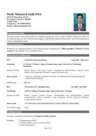 resume format engineering fresher of instrumentation engineer
