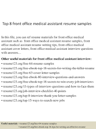 Front Desk Resume Examples by Top 8 Front Office Medical Assistant Resume Samples 1 638 Jpg Cb U003d1431473392