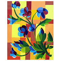 cubism flower painting acrylic on canvas original painting from brazil flower grid