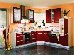 red painted kitchen cabinets