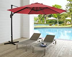 11 Ft Offset Patio Umbrella Ulax Furniture 360 Rotation 11 Ft Deluxe Outdoor
