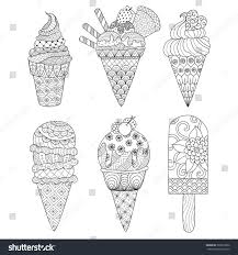 zentangle ice cream set coloring book stock vector 363812960