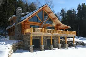 breathtaking log cabin deck railing using wooden handrail exterior