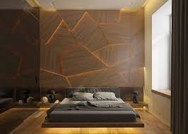bed back wall design this bedroom has a geometric back lit wood accent wall contemporist