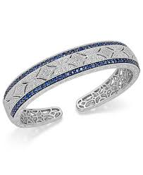 sapphire bracelet images Sapphire 2 3 8 ct t w and diamond 1 10 ct t w antique cuff tif