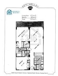 2 Bedroom Condo Floor Plan Seychelles Daytona Beach Floor Plans