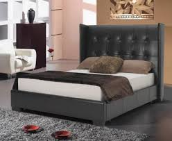 wing bicast leather platform bed with button tufted headboard