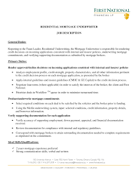 Mortgage Broker Resume Excellent And Effective Sample Resumes Mortgage Underwriter