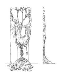 a front and side view sketch of a melting wood sculpture by french