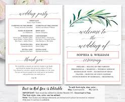 free printable wedding program fans greenery wedding fan program printable wedding fan program