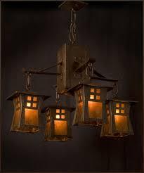 Japanese Chandeliers Craftsman Copper Riverside Chandelier