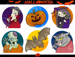 halloween funny cartoon pictures cartoon illustration of halloween themes vampire zombie witch