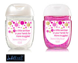 ready to pop hand sanitizer labels baby shower favors pink