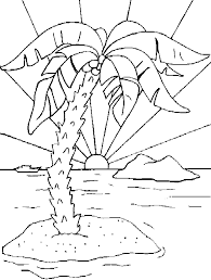island coloring page coloring a deserted island with a sunset in the sea picture