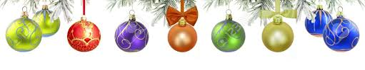 banner with green tree and baubles isolated stock photo