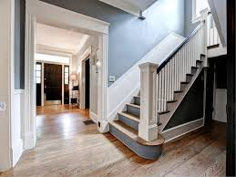 craftsman staircase with high ceiling hardwood floors in atlanta