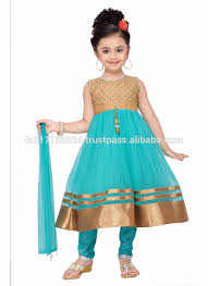 indian style kids dress wear fashion net baby girls dress latest