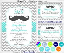 Baby Shower Invite Boy Little Man Baby Shower Invitation Boy Baby Aqua Blue Mustache