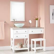 White Bathroom Vanity With Vessel Sink 48