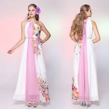 gorgeous casual halter floral printed chiffon women evening dress