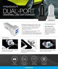 pixel car top view amazon com car charger maxboost 4 8a 24w 2 usb smart port car