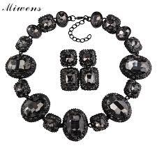 black bead collar necklace images Fashion crystal gem chain collar statement choker necklace women jpg