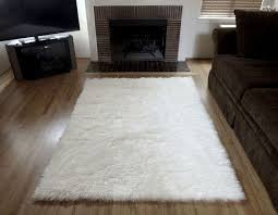 White Area Rug Plush White Faux Fur Area Rug From