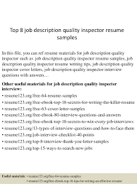 Job Description Resume Samples by Top 8 Job Description Quality Inspector Resume Samples 1 638 Jpg Cb U003d1437639656