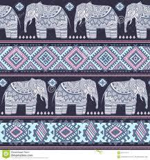 Musterk Hen Nahtloses Muster Des Indischen Elefanten Der Weinlese Mit Stammes