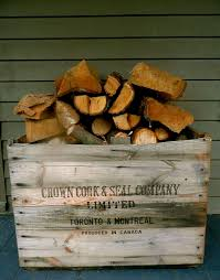 idea use a vintage wooden box to hold firewood the home