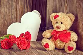 valentines day teddy valentines day teddy alone roses note stock image