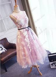pd16041 lilac purple with white lace tea length prom gown pd16040