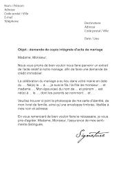 demander acte de mariage lettre de demande d acte de mariage modèle de lettre