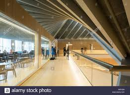 interior view of 2nd floor walkway and restaurant design museum