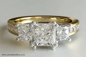 Yellow Gold Wedding Rings by 3 Stone Princess Cut Diamond Engagement Ring Yellow Gold New Zealand