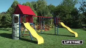 Metal Playsets Lifetime Double Slide Deluxe Playset Primary Colors 90274 Youtube