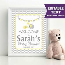 baby shower welcome sign editable elephant baby shower welcome sign baby shower sign diy