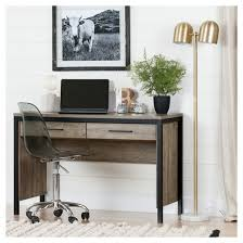 munich desk with drawers weathered oak and matte black south