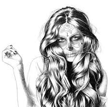 sugar skull hair drawing clipartxtras