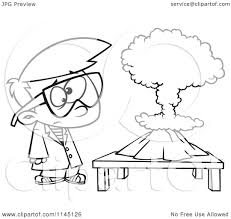 cartoon clipart of a black and white scientist boy with a mushroom