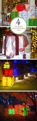 diy decorations 4 lighted gift boxes outdoor