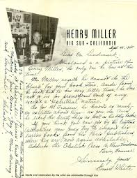brown writing paper henry miller signed photograph 12mo original photograph big signed photograph 12mo original photograph big sur august 1949 plus y tls