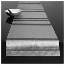 chilewich tuxedo stripe placemat table runner silver vertigo