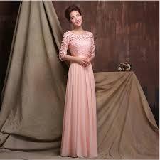 sleeved bridesmaid dresses fashion o neck a line floor length chiffon sleeve bridesmaid