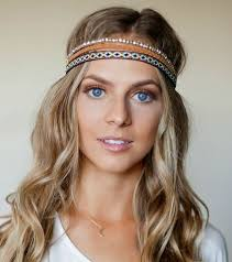 hippie hair bands 3 pack bohemian strech headbands leather bead multi color