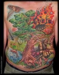 colorful burning tree