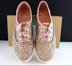 wedding shoes keds kate spade keds sneakers kick gold glitter shoes pink ribbon