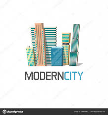 conceptmodern city buildings logo isolated town construction concept modern
