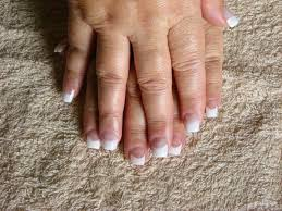 classic pink and white french white tip square shape nails core